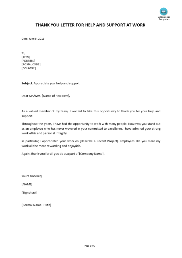 Thank you letter for help and support at work  Templates at