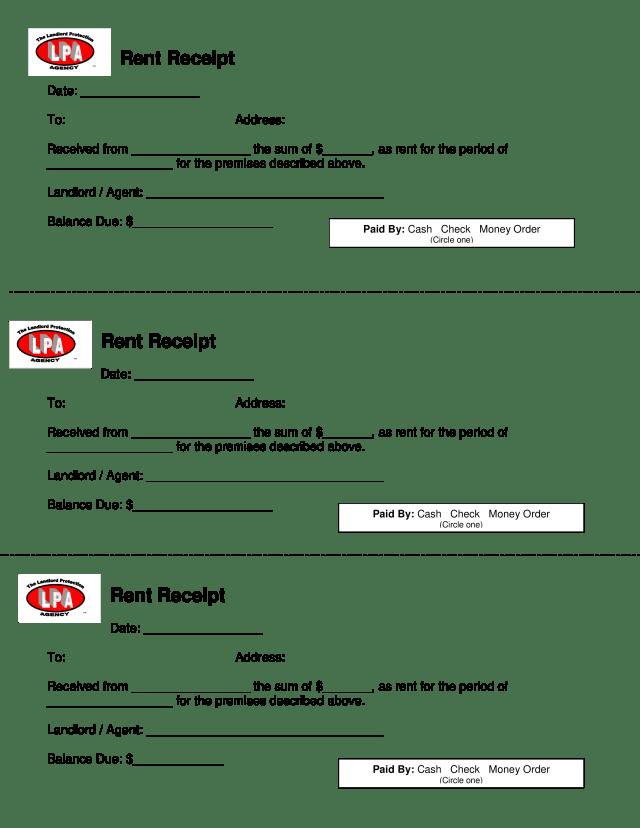 免费Rent Receipt  样本文件在allbusinesstemplates.com