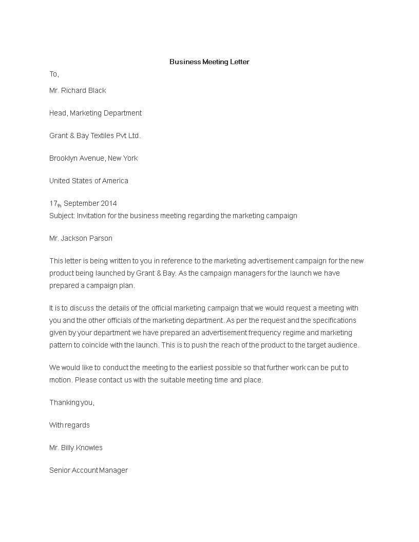 business meeting letter sample