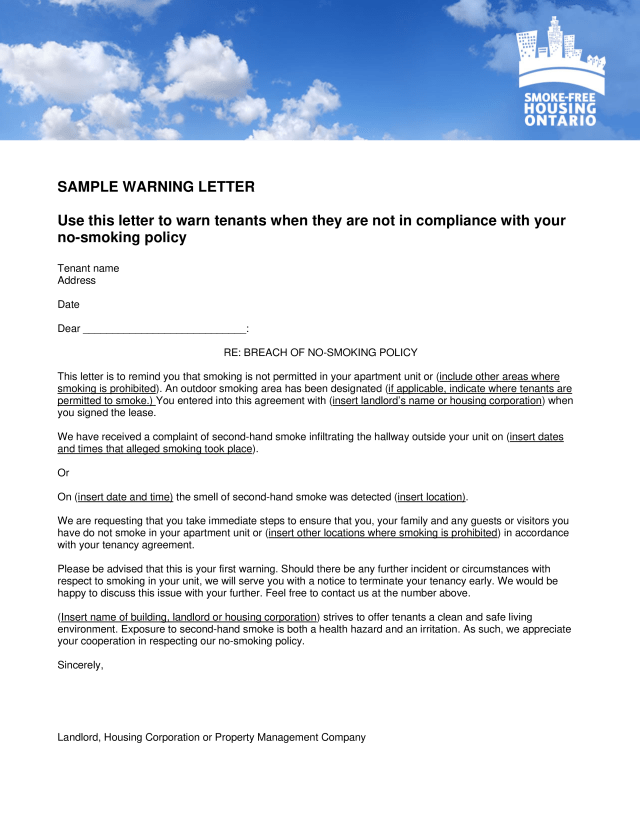 Kostenloses Landlord Complaint Letter To Tenant