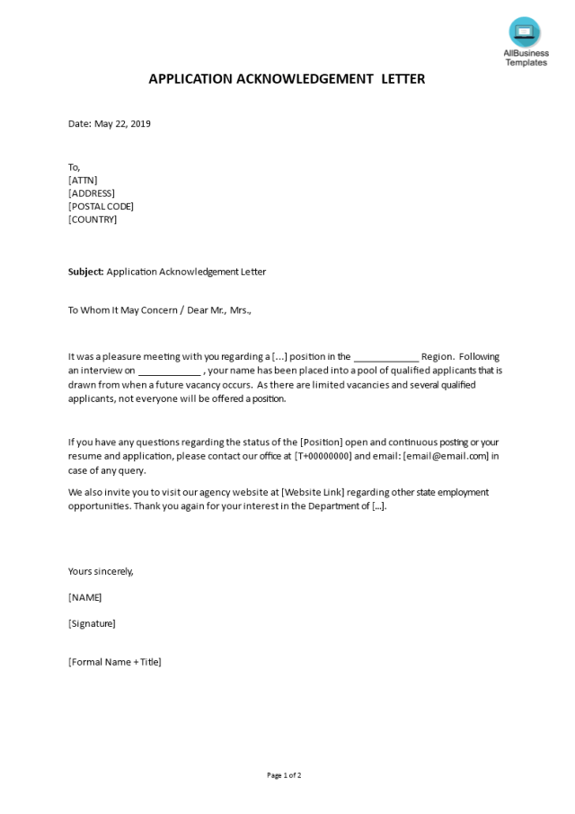 Kostenloses Application Acknowledgement Letter Example