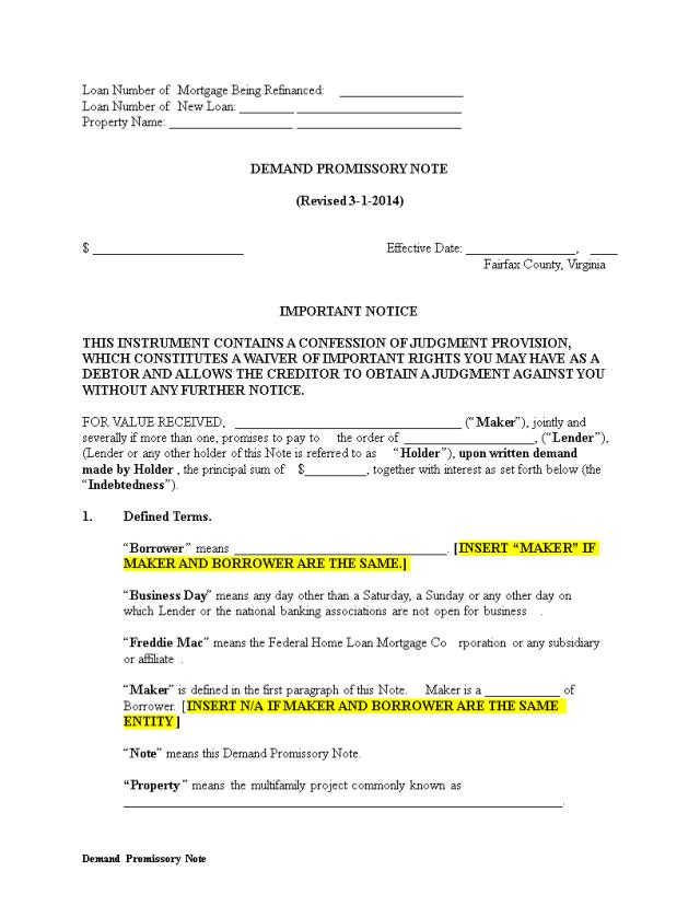 免费Demand Promissory Note  样本文件在allbusinesstemplates.com