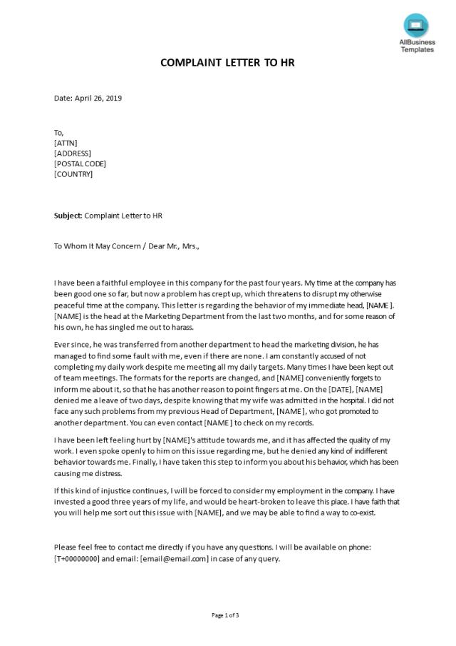 Kostenloses Complaint Letter to HR