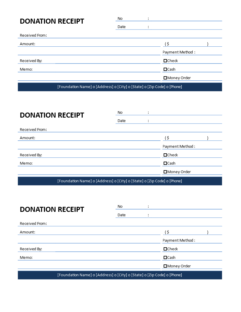 Non Profit Donation Receipt For Cash Donation Templates At