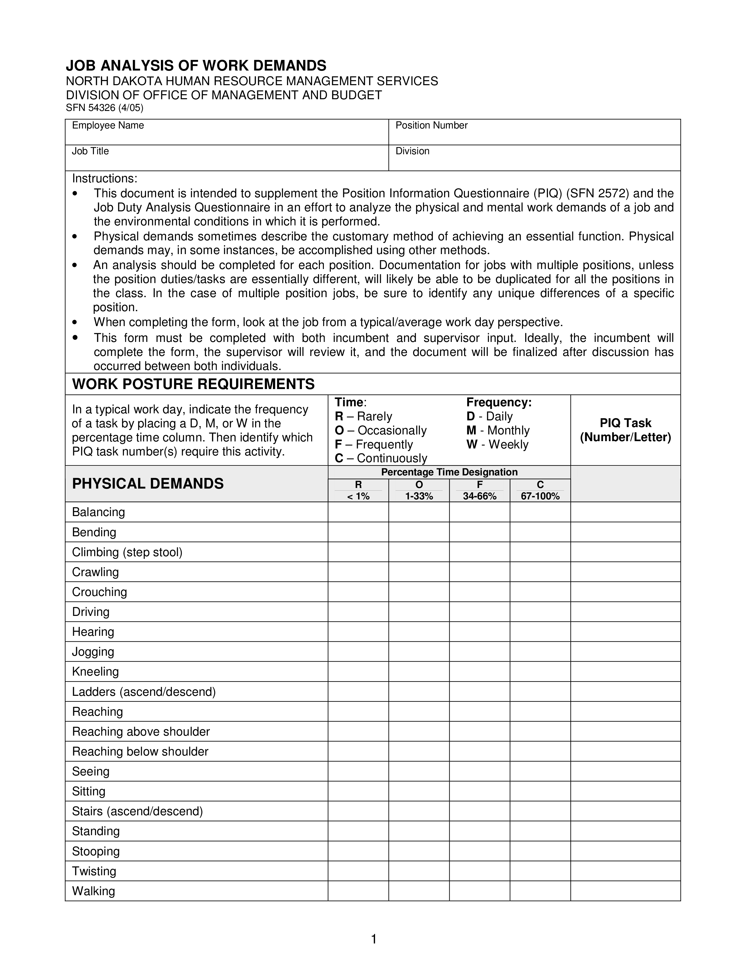 Work Demand Jobysis Form