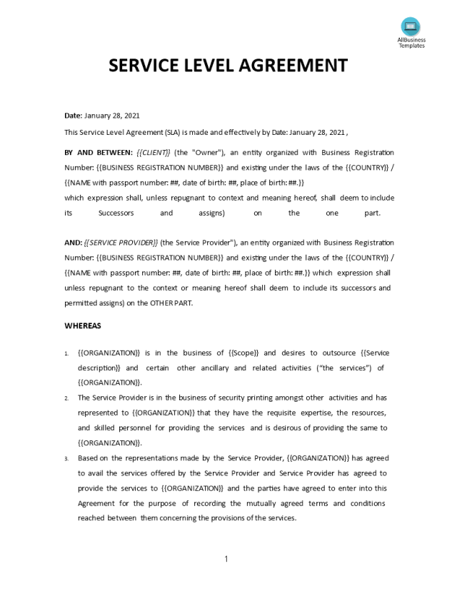 Service Level Agreement template  Templates at