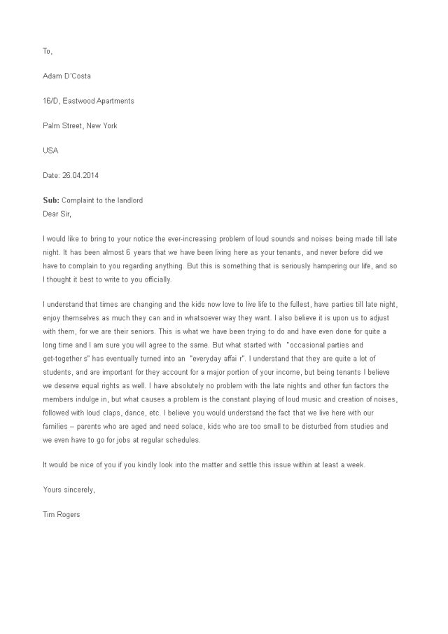 Kostenloses Sample Complaint Letter To Landlord