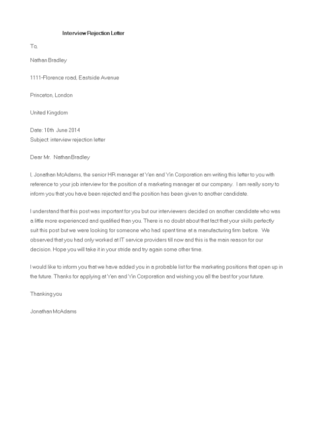 Kostenloses Letter to reject job interview