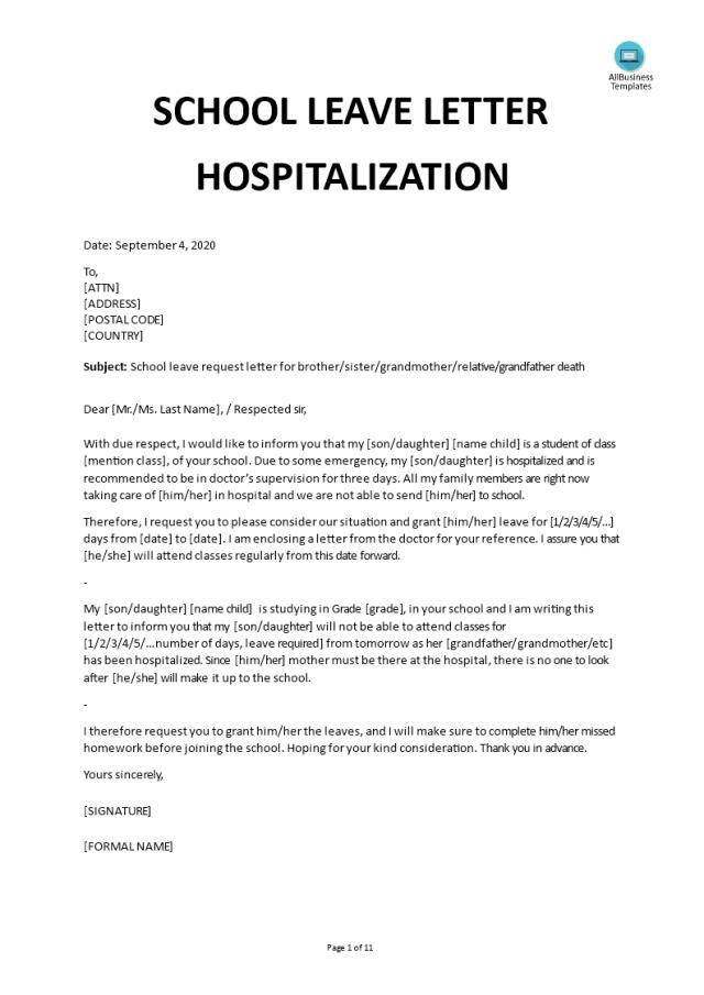 Kostenloses School Leave Letter Hospitalization