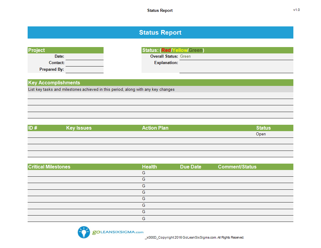 Status Report Template Worksheet Excel