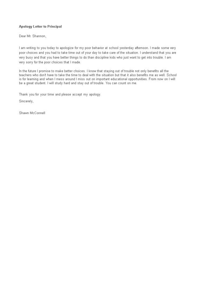 Apology Letter To Principal  Templates at allbusinesstemplates.com