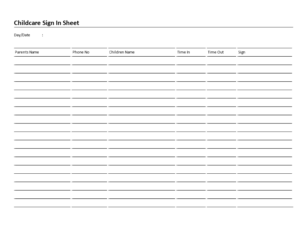 Childcare Sign In Sheet 6 Columns Landscape