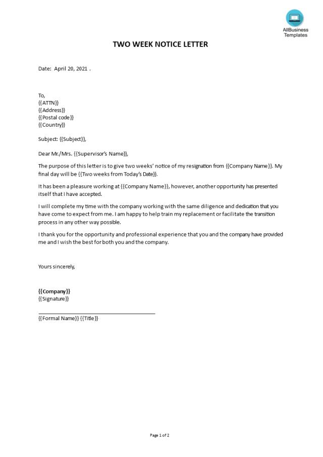 Gratis Two Week Notice Letter