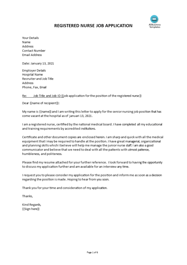 Kostenloses Cover letter for registered nurse