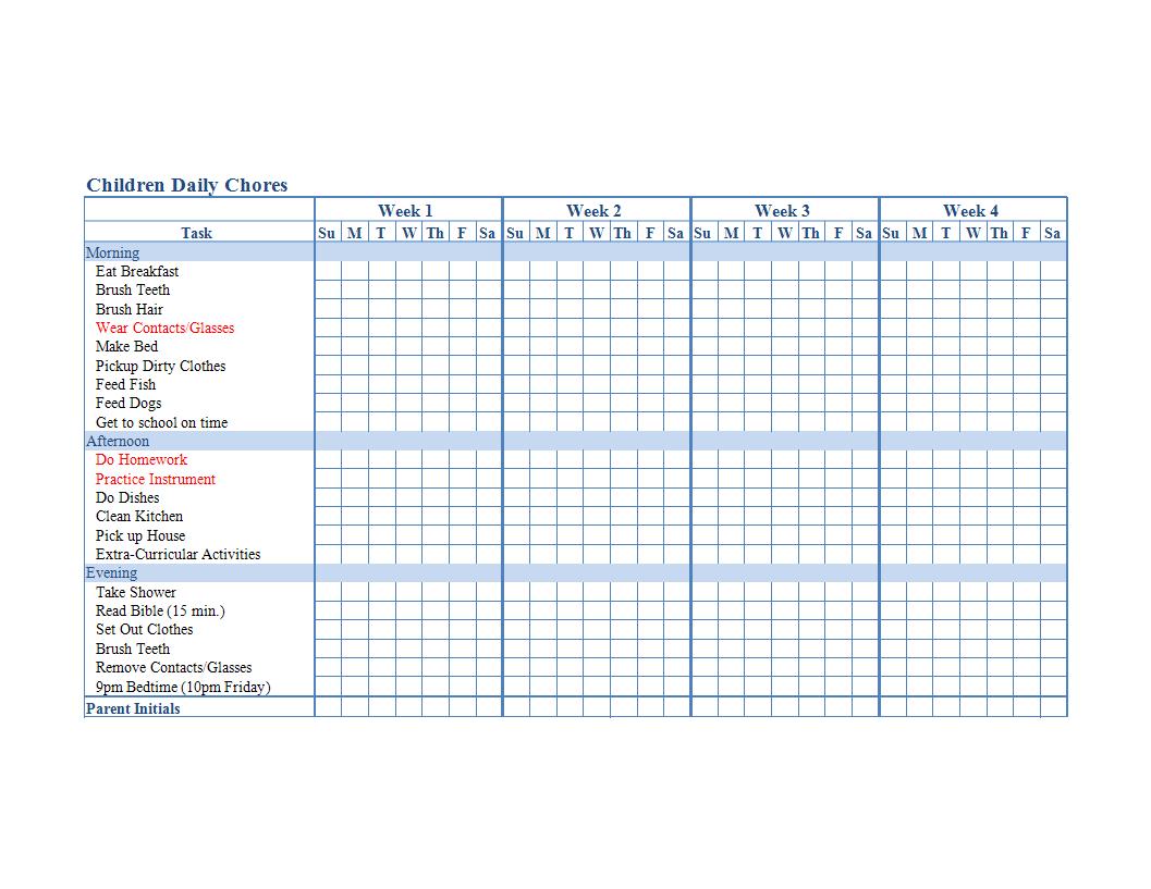 Children Chore Chart Template