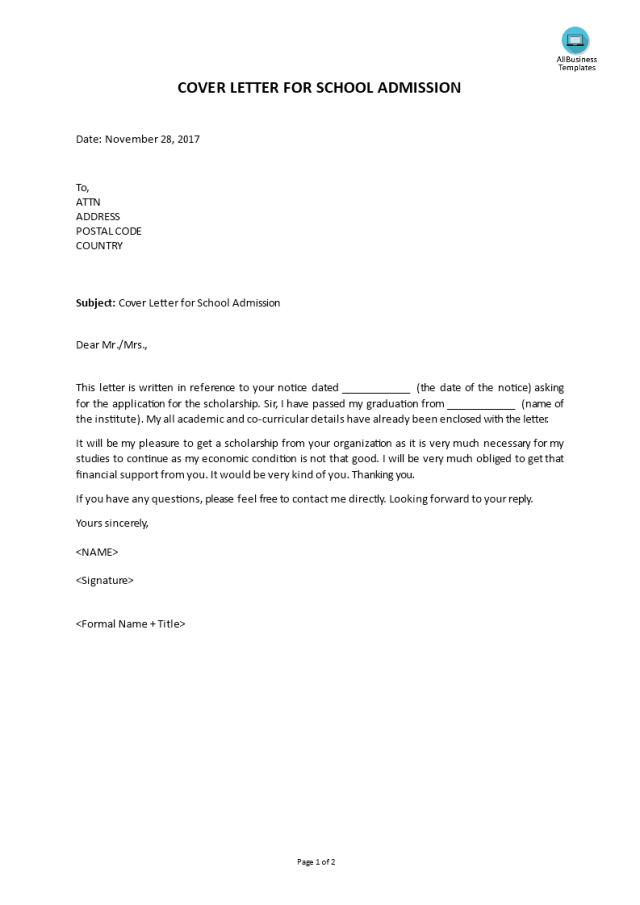 Kostenloses School Admission Cover Letter