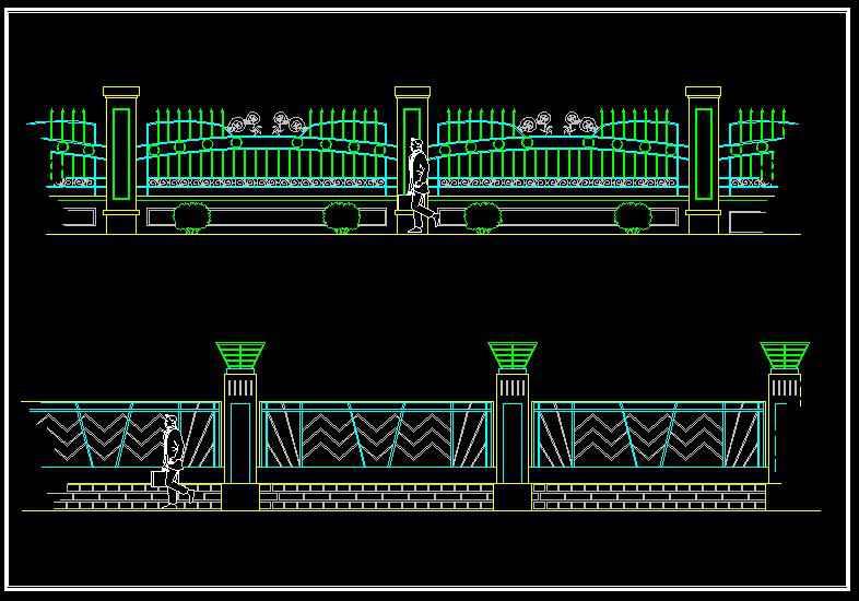 Wrought iron railing fence design】★ - Free Autocad Blocks ...