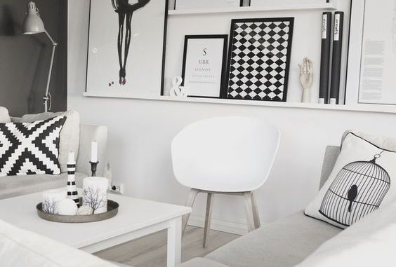Two trends of the moment black and white and scandinavian