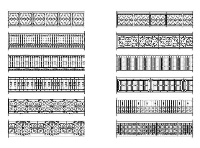 Free Wrought Iron Railings 1 – Free Autocad Blocks