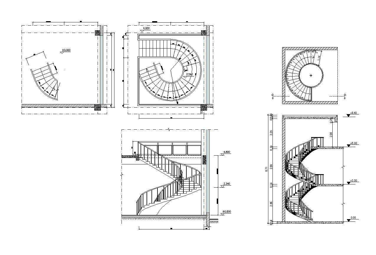 Concrete Spiral Staircase dwg Autocad drawing 2d Stairways