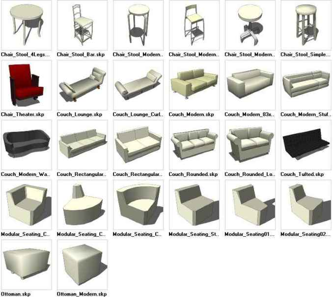 sketchup seating 3d models download free cad blocks