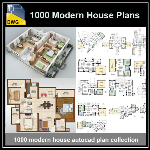 1000 Types Of Modern House Plans(dwg Autocad Drawing) .Download 1000 Modern House  AutoCAD Plan Collection.