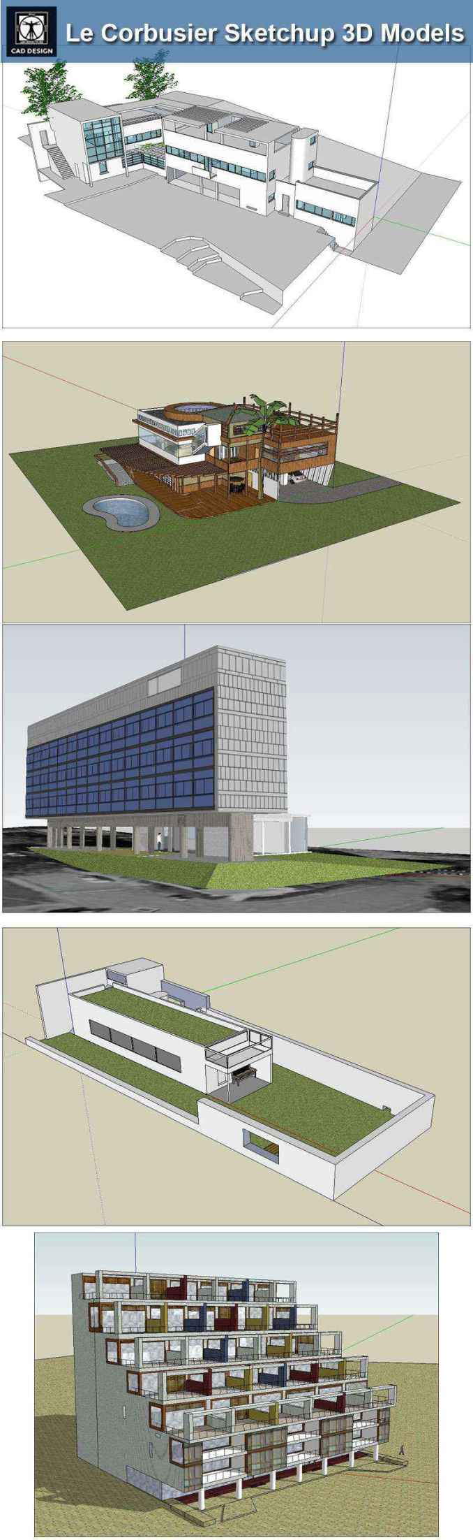 24 Types of Le Corbusier Architecture Sketchup 3D Models(Recommanded!!)