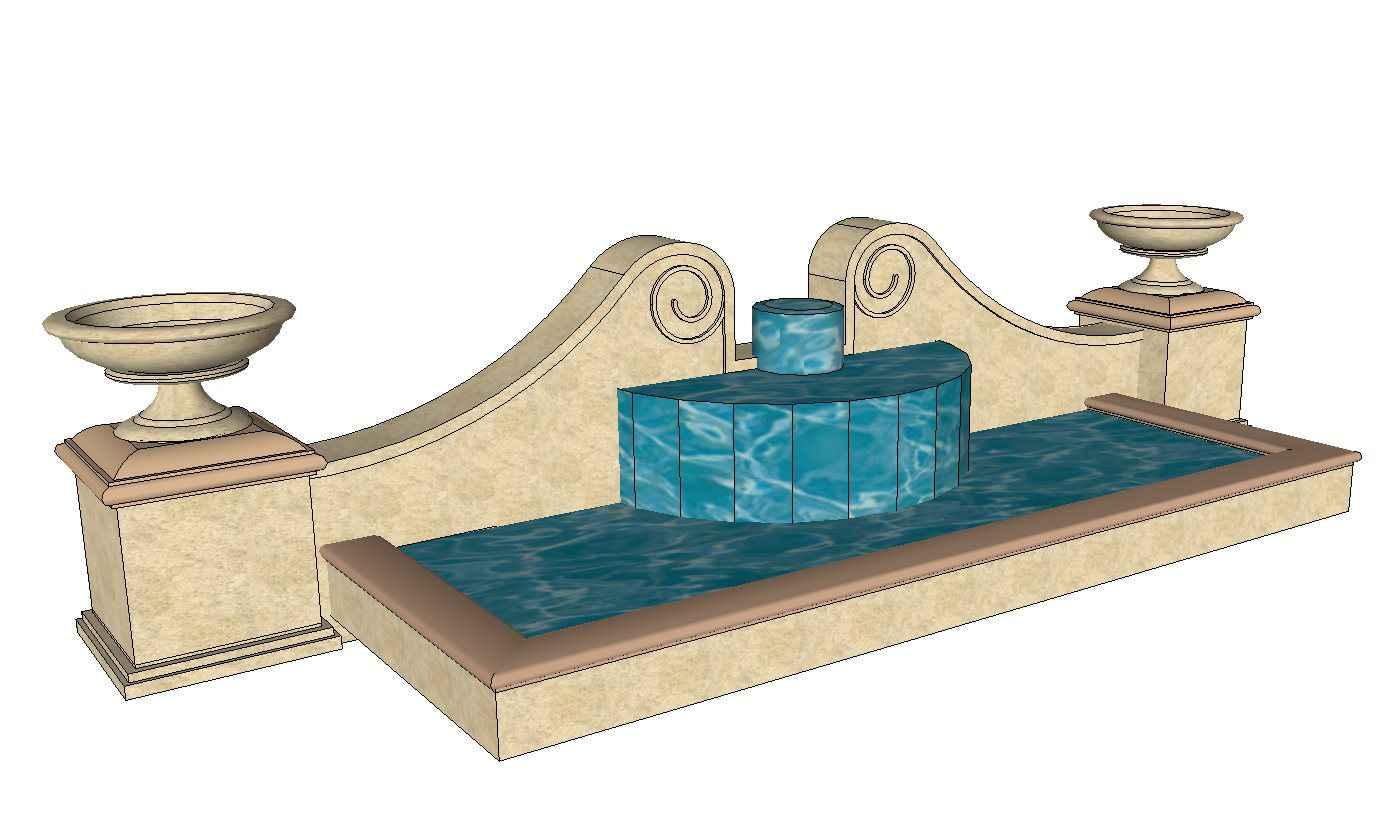 European Fountain & Waterfall Landscape-Sketchup 3D Models(Best ...