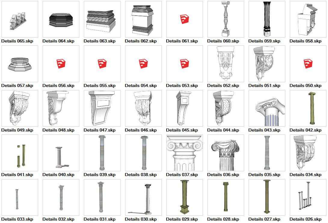 European Architecture Elements 3D Models-Sketchup 3D