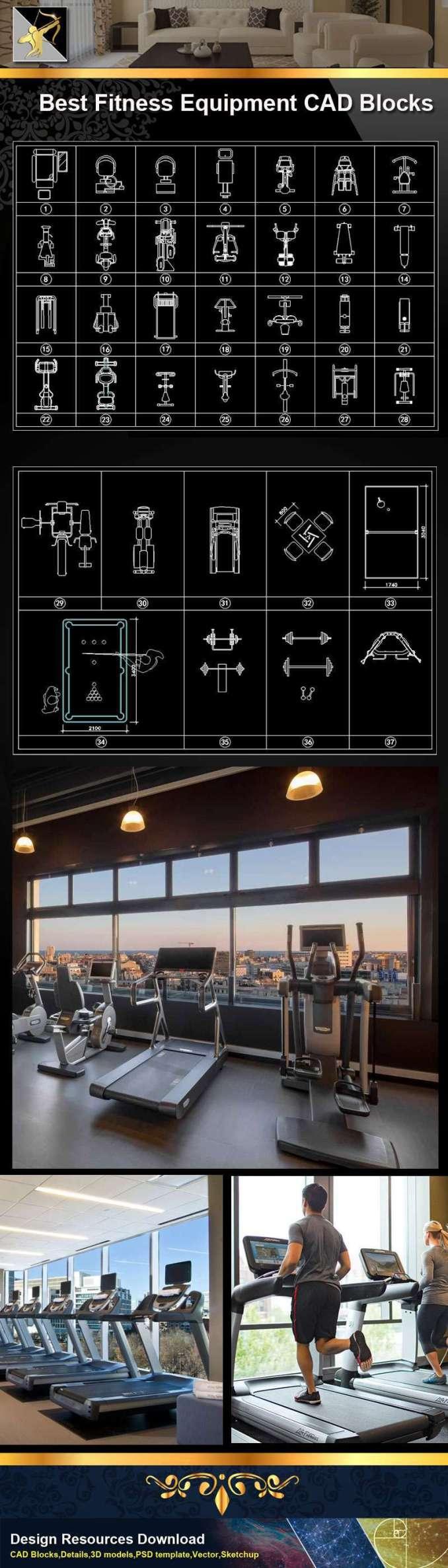 ☆【fitness equipment】@autocad blocks drawings cad details