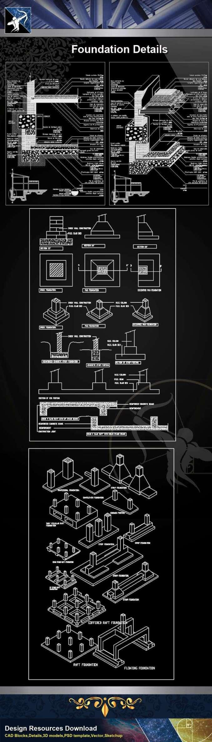 【Architecture CAD Details Collections】Foundation CAD Details 2