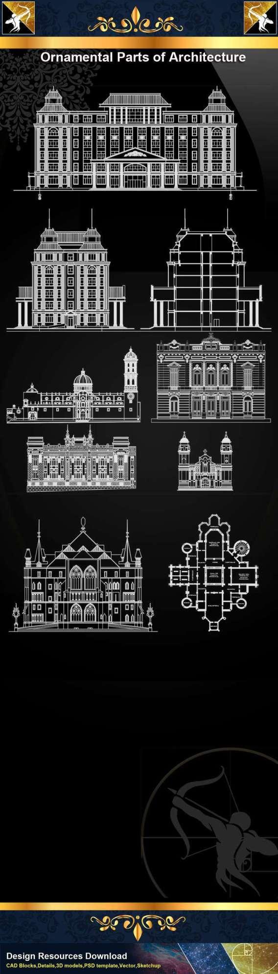 ★【Ornamental Parts of Architecture -Decoration Element CAD Blocks V.4】@Autocad Decoration Blocks,Drawings,CAD Details,Elevation