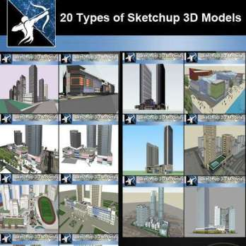 ★Best 20 Types of City,Residential Building Sketchup 3D Models Collection