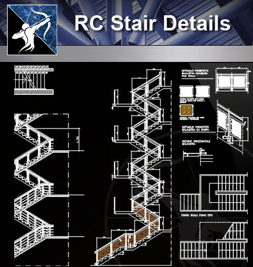 【Architecture CAD Details Collections】RC Stair CAD Details