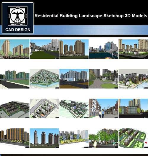 ★【Sketchup 3D Models】20 Types of Residential Building Landscape Sketchup 3D  Models V 7