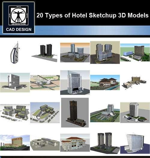 ★【Sketchup 3D Models】20 Types of Hotel Sketchup 3D Models V.1