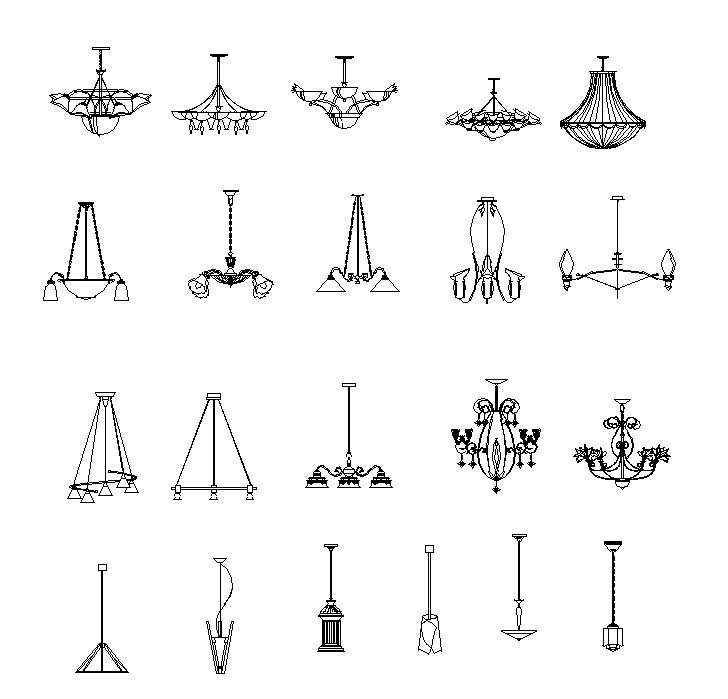Chandelier, Crystal lamp Autocad Blocks】-All kinds of