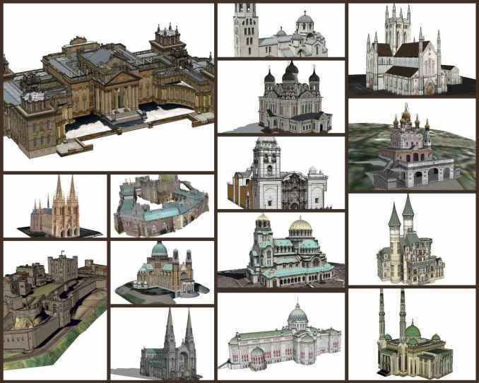 💎【Sketchup Architecture 3D Projects】15 Types of Castle Design Sketchup 3D Models V1