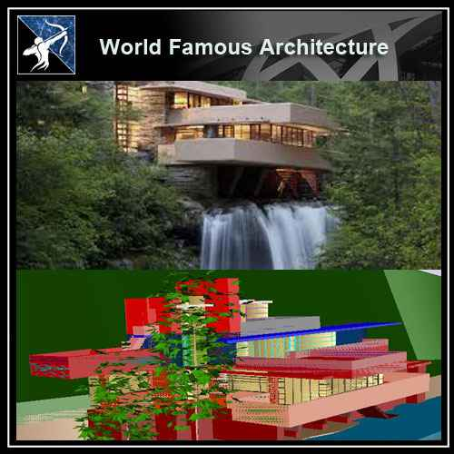 Famous Architecture Projects Falling Water 3d Cad Drawings