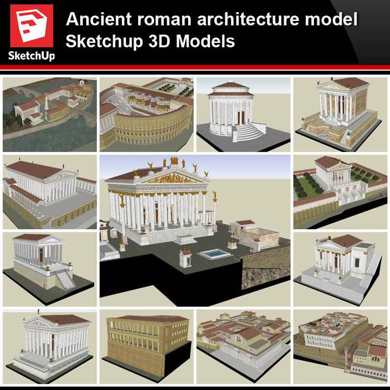 Sketchup Architecture 3d Projects Ancient Roman Architecture Model Sketchup 3d Models V2 Free Autocad Blocks Drawings Download Center