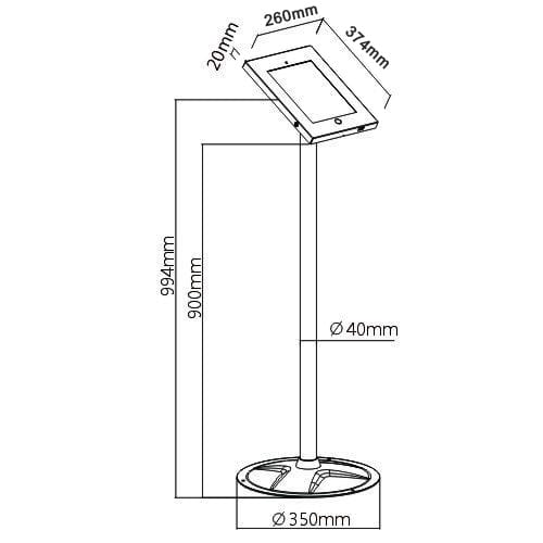 pad1202 2601 Steel Security iPad Pro Kiosk Floor Stand