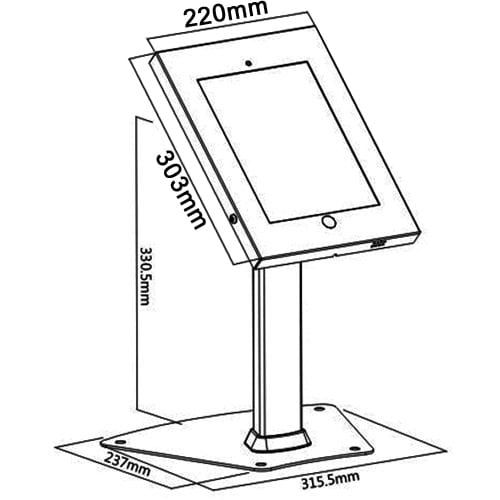 "Brateck PAD1204 2601 iPad pro 12.9"" Kiosk Table Stand dimensions diagram"