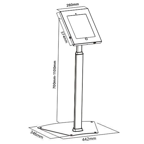 "Brateck PAG1205 2601 iPad Pro 12.9"" Tablet Kiosk Floor Stand dimensions diagram"