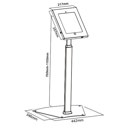 Brateck PAD12-05A iPad Kiosk Floor Stand Dimensions Diagram