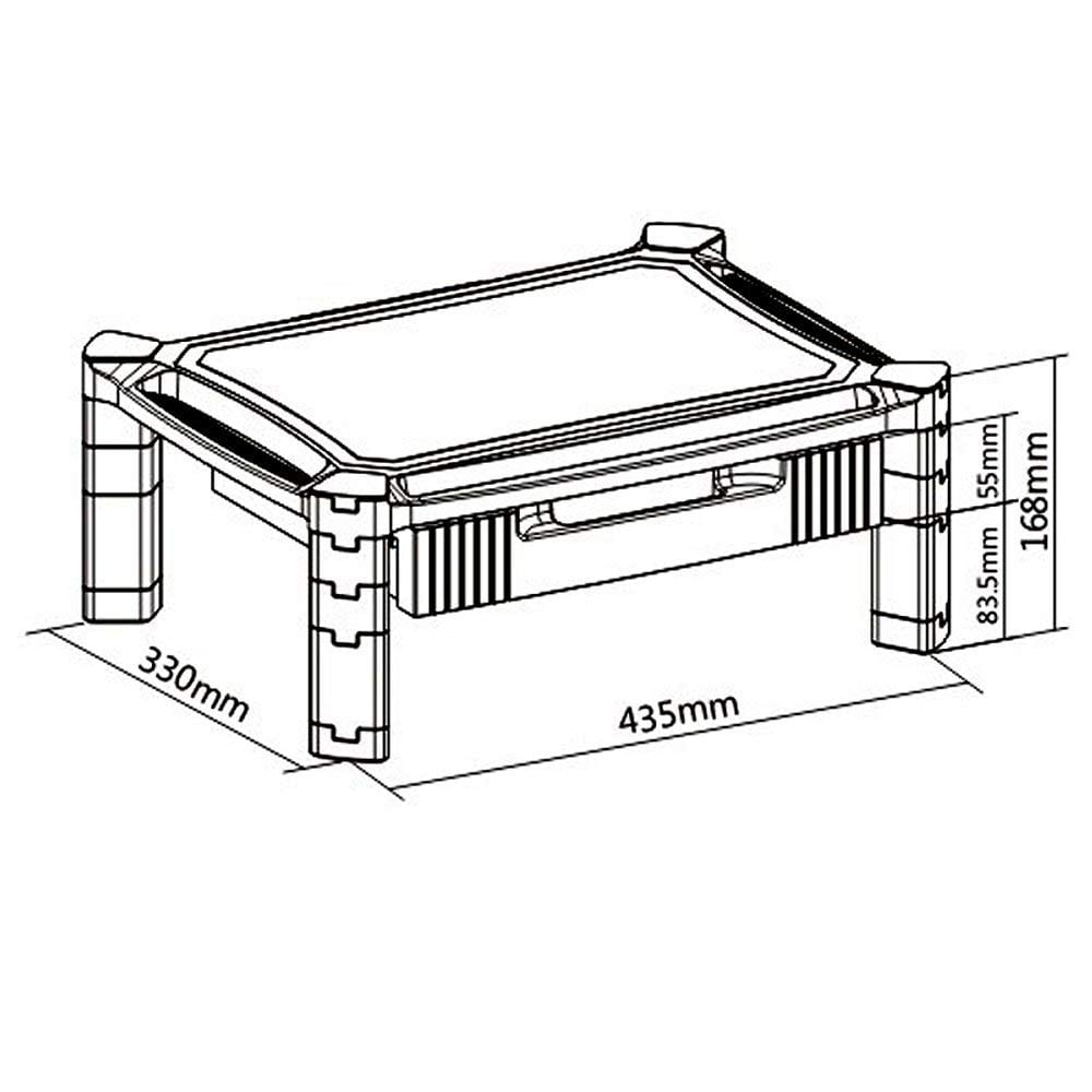 PMS02 Laptop Printer Monitor Stand Riser sizes dimensions diagram