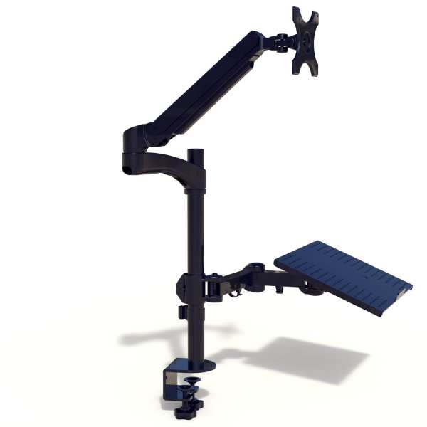 g12ltry gas spring workstation with monitor arm and laptop tray