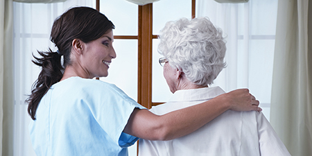 image of caregiver with senior woman