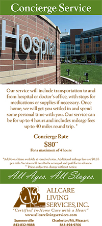 image of the front of AllCare Living Services concierge service rack card