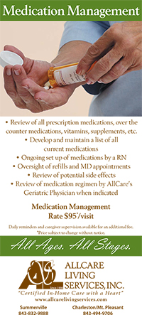 image of the front of AllCare Living Services medication management rack card