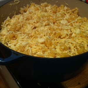 Macaroni cheese ready for the oven